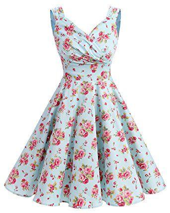 Bridesmay Damen Vintage 50S Retro Partykleid Rockabilly Knielang ...