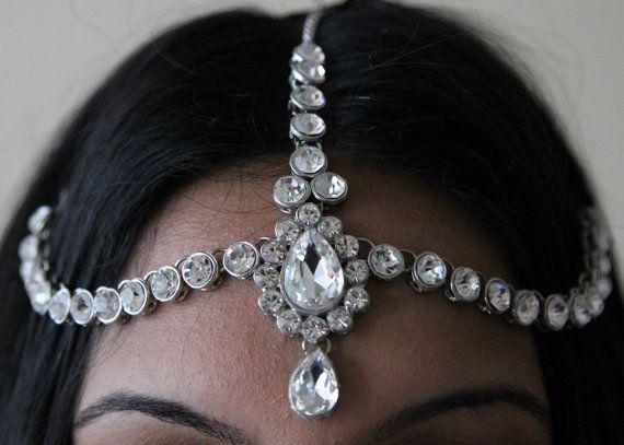 HAIR HEAD CHAIN HEADPIECE HEAD JEWELLERY MATHA PATTI KUNDAN STONES SILVER TONE