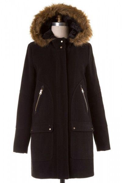 Faux Fur Trim Hood Wool Blend Winter Coat - Black