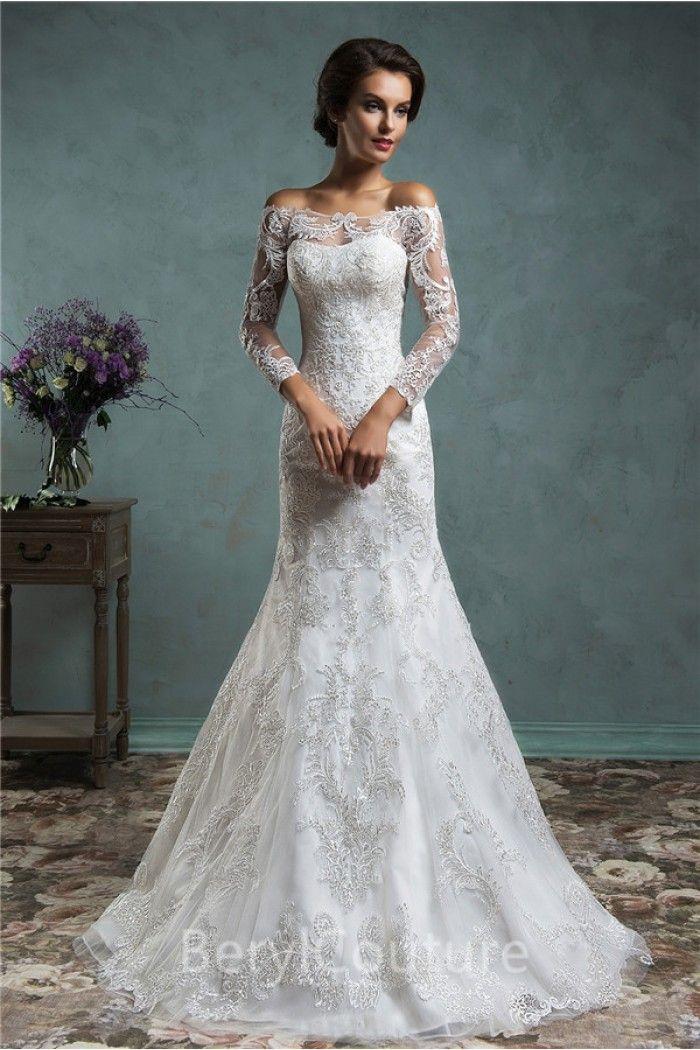 Vestido de novia de manga larga única de la sirena del cordón de la ...