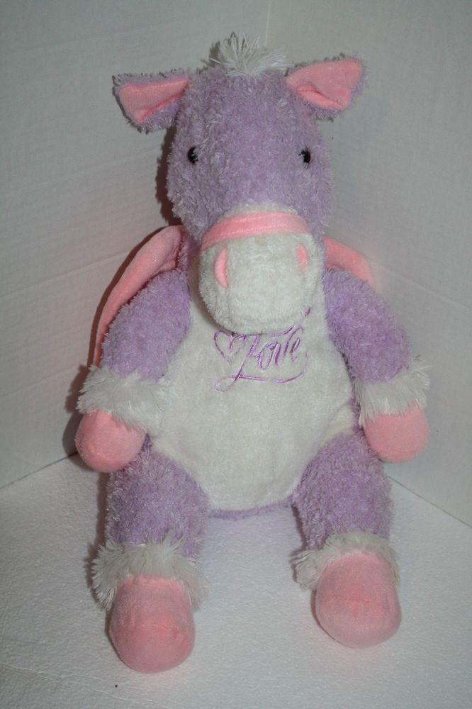 Dan Dee Lavender Pink White Love Horse Pegasus 20 Wings Plush