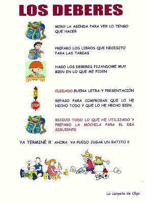La Carpeta De Olga Deberes De Los Ninos Responsabilidad Para Ninos Deberes Escolares