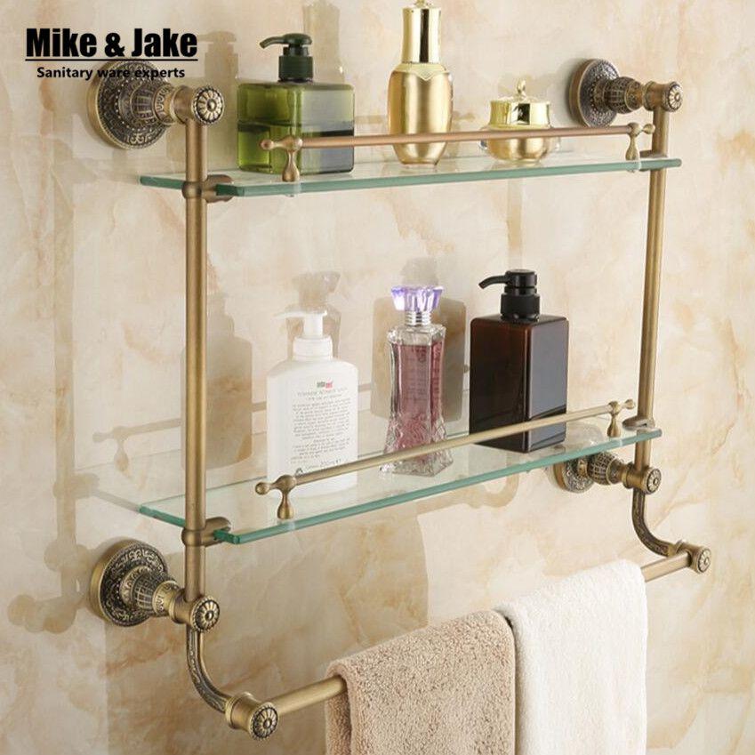 Double level glass Bathroom glass shelf antique brass glass cosmetic