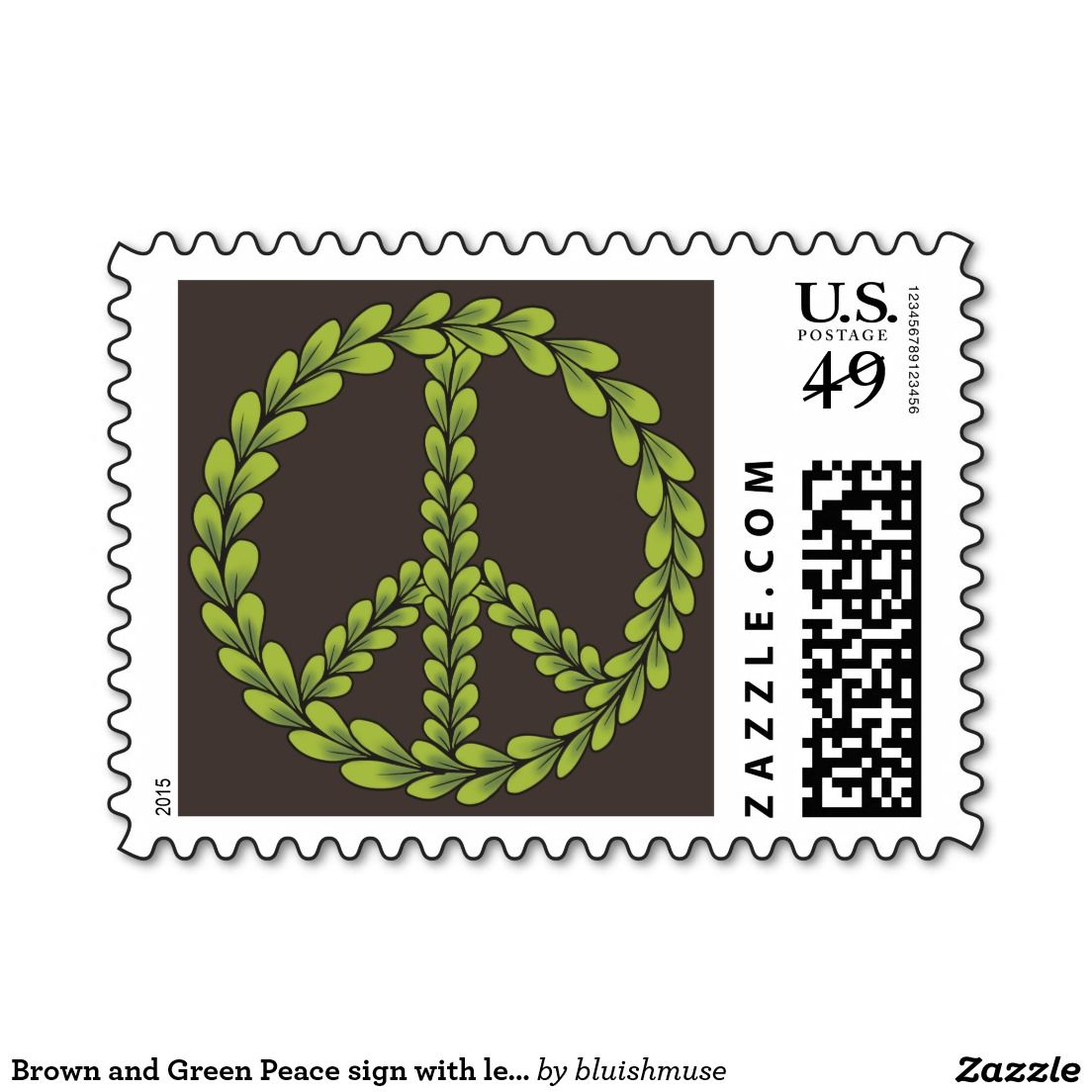Brown and Green Peace sign with leaves Postage