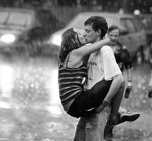 Story in the Rain: Just enjoy the moment...Use props like umbrellas, cars (trying to kiss between 2 cars), playing in a fountain...