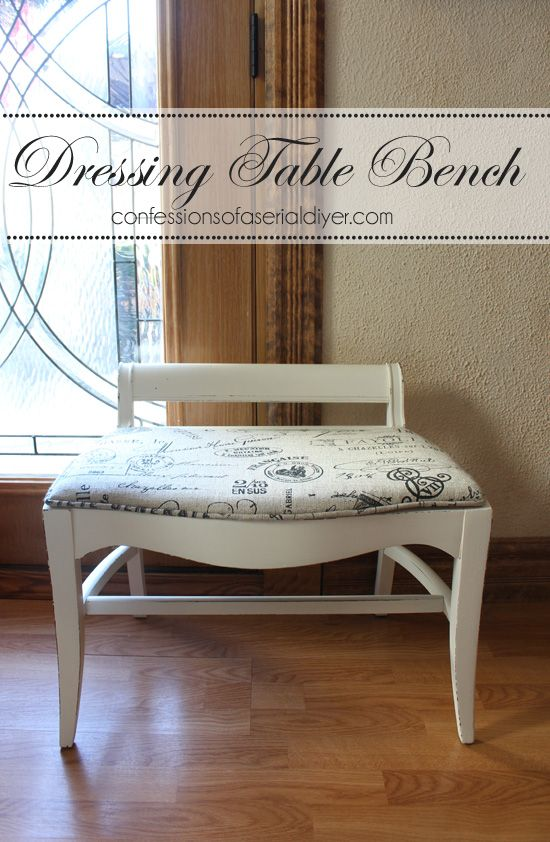 Good Dressing Table Bench Makeover   Links To Good Tutorials For Piping,  Re Upholstering,