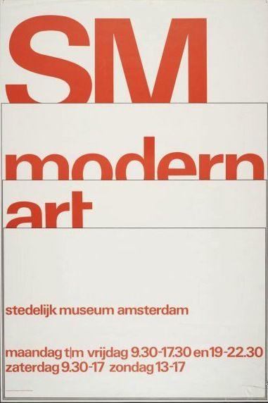 """""""modern art"""" Exhibition Poster, Stedelijk Museum, Amsterdam., Designed by Wim Crouwel & Anne Stienstra"""