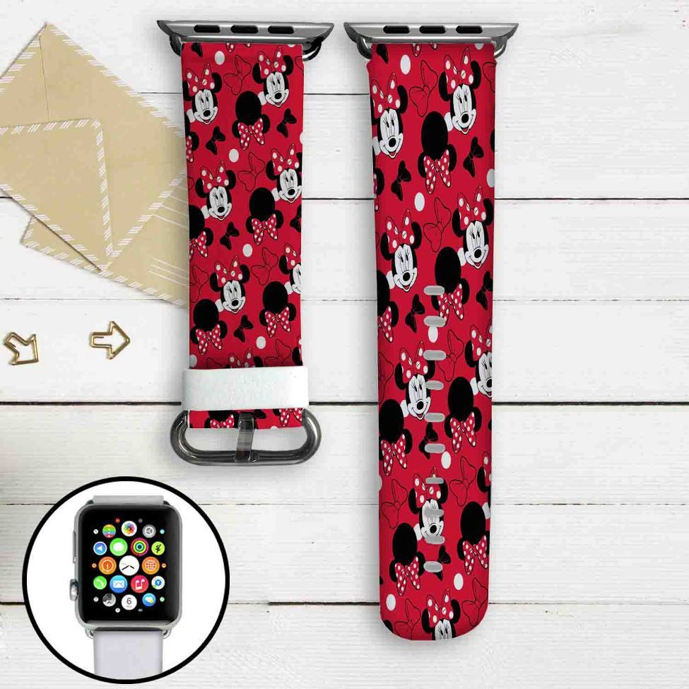 Minnie Mouse Disney Custom Apple Watch Band Leather Strap
