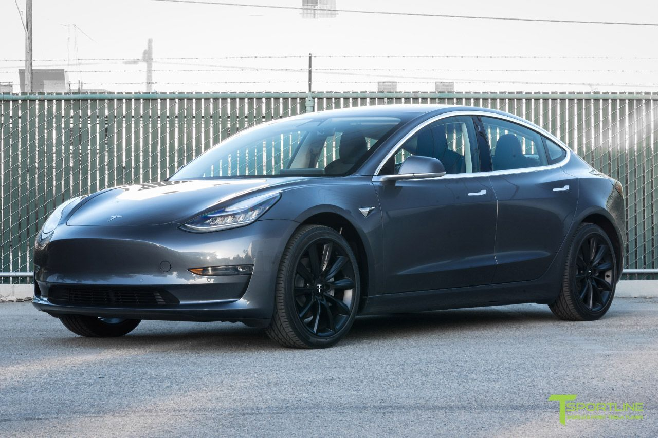 Midnight Silver Metallic Tesla Model 3 With 19 Inch Matte Black Tst Wheels By T Sportline