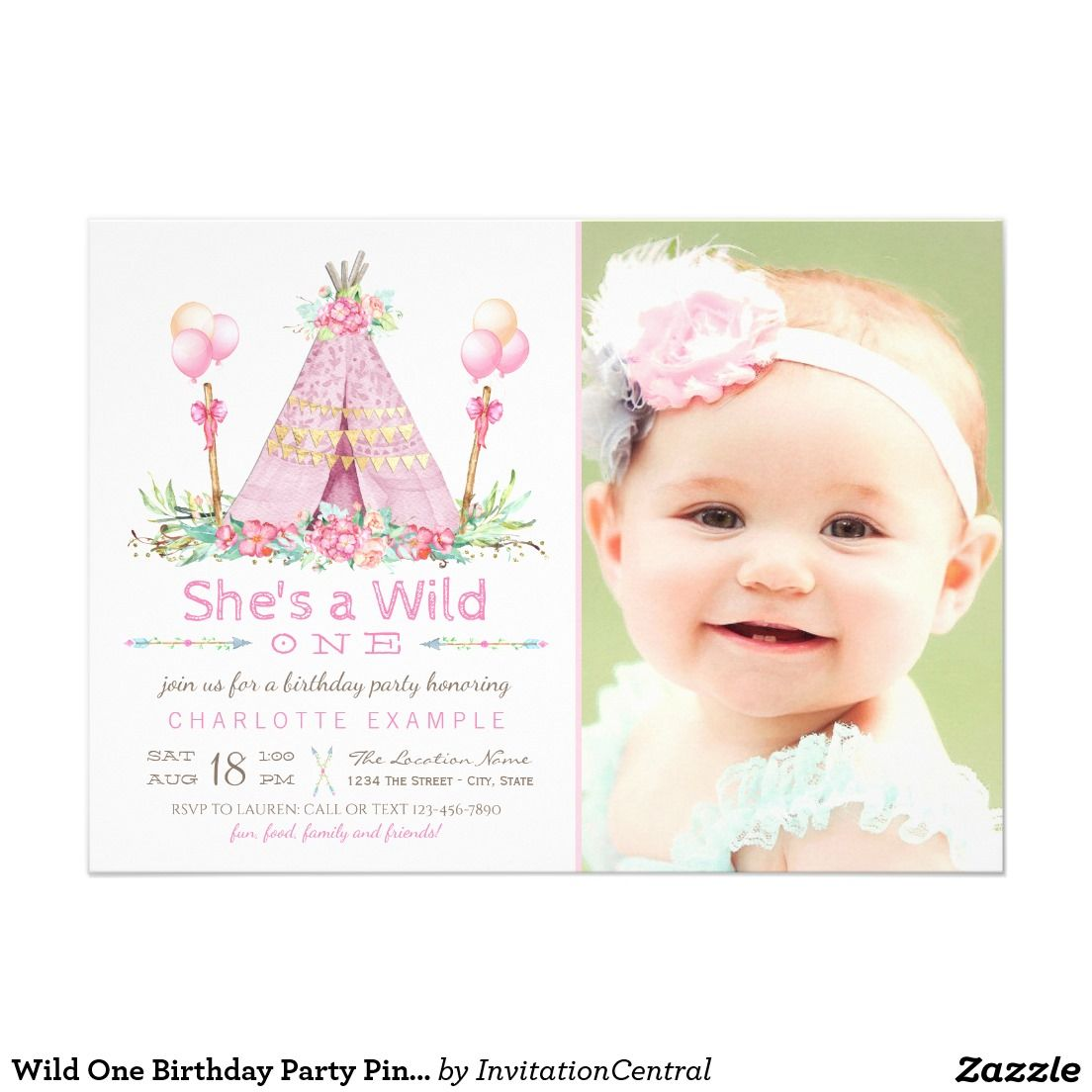 Wild One Birthday Party Pink Teepee 1st Birthday Card | First ...