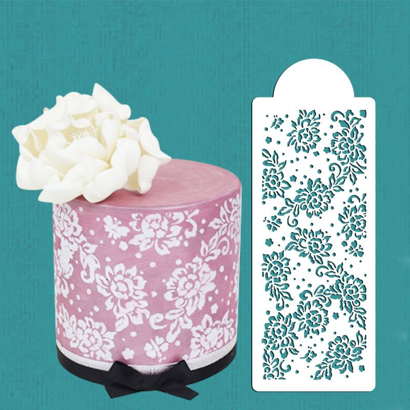 Lace For Cake Decorating : Peony Lace Cake Stencil, Cake Side Stencil, Cookie stencil ...