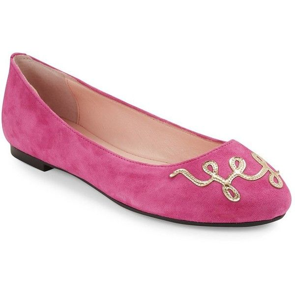 Kate Spade New York Willow Suede Ballet Flats ($160) ❤ liked on Polyvore featuring shoes, flats, pink, ballet shoes, ballerina pumps, pink flats, ballet flats and pink ballerina shoes