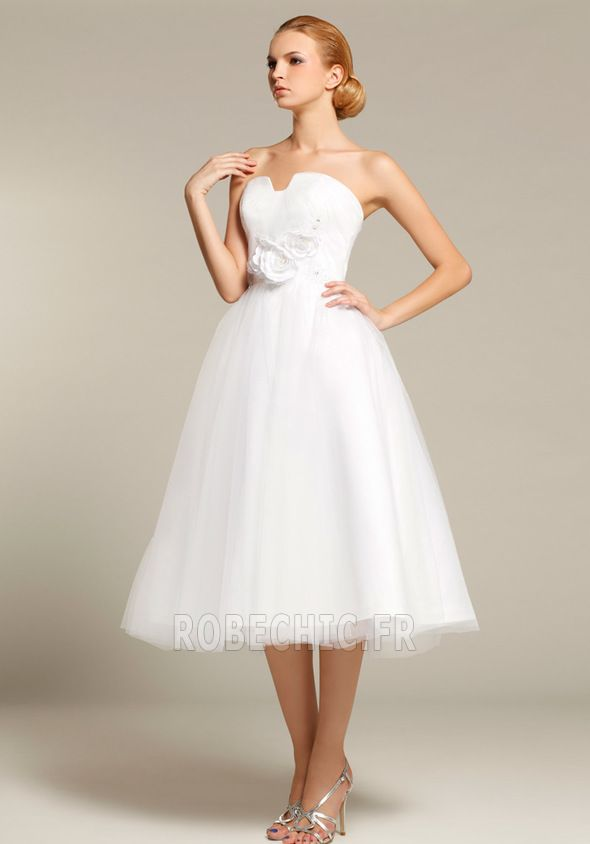 Robe courte blanche tulle