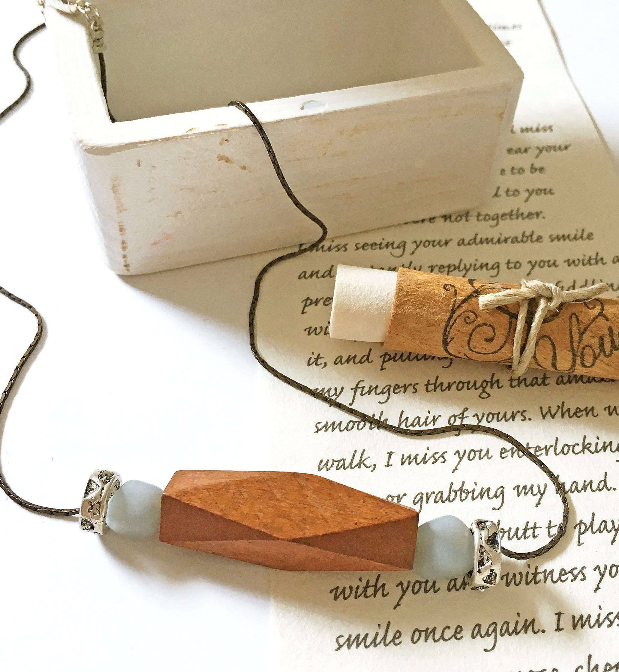 Wood anniversary gift for wife, trendy necklace, your