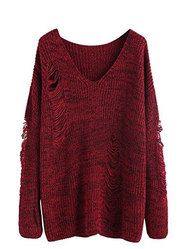 bc942e0793 MakeMeChic Women's V-Neck Ripped Long Sleeve Knit Loose Pullover Sweater  Burgundy Black M *** You can get more details at