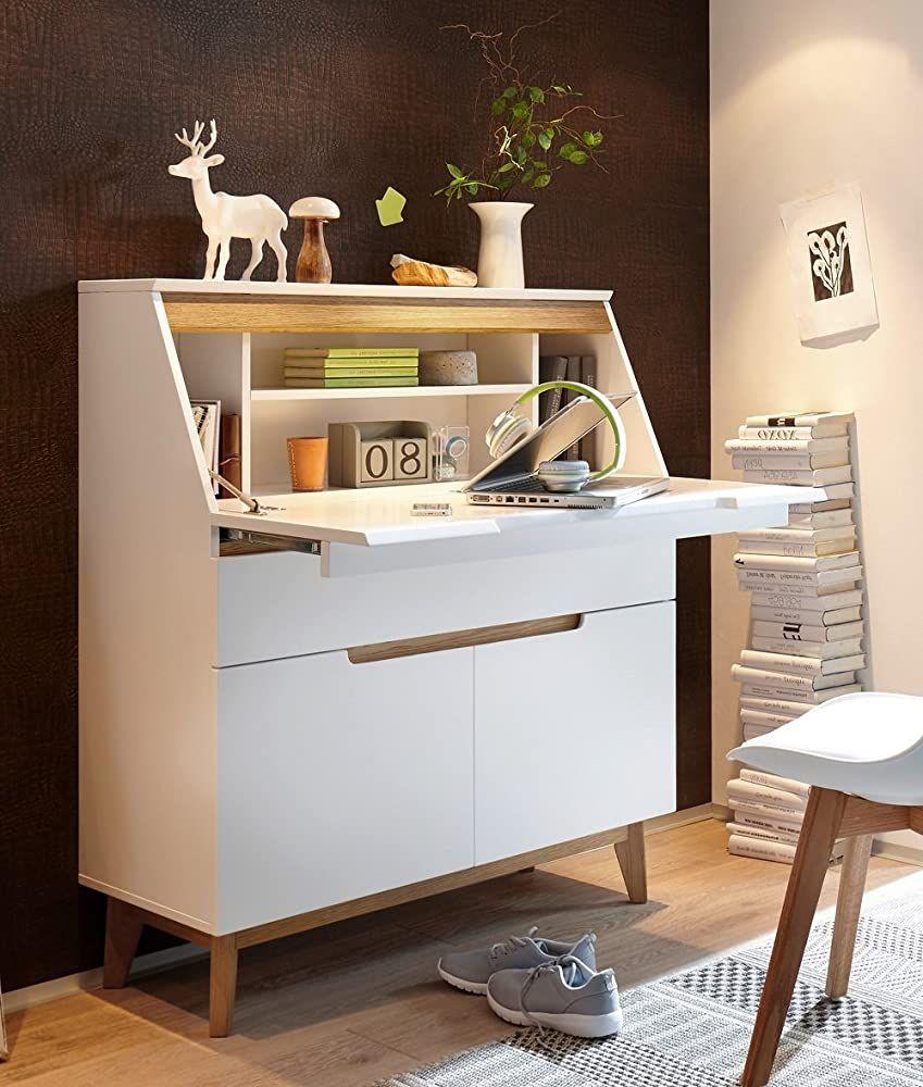 trend-moebel SEKRET/ÄR Schreibtisch COMPUTERTISCH Home Office B/ÜRO ASTEICHE GE/ÖLT Weiss MATT
