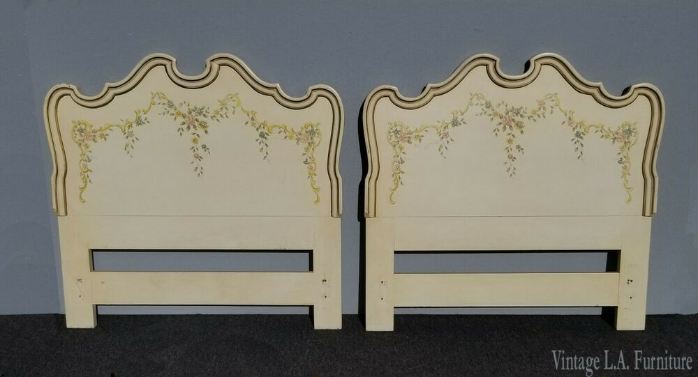 Pair Of Vintage Drexel Heritage French Country Creme Floral Twin Headboards Frenchcountry Drexelheritage Twin Headboard Drexel Heritage French Country