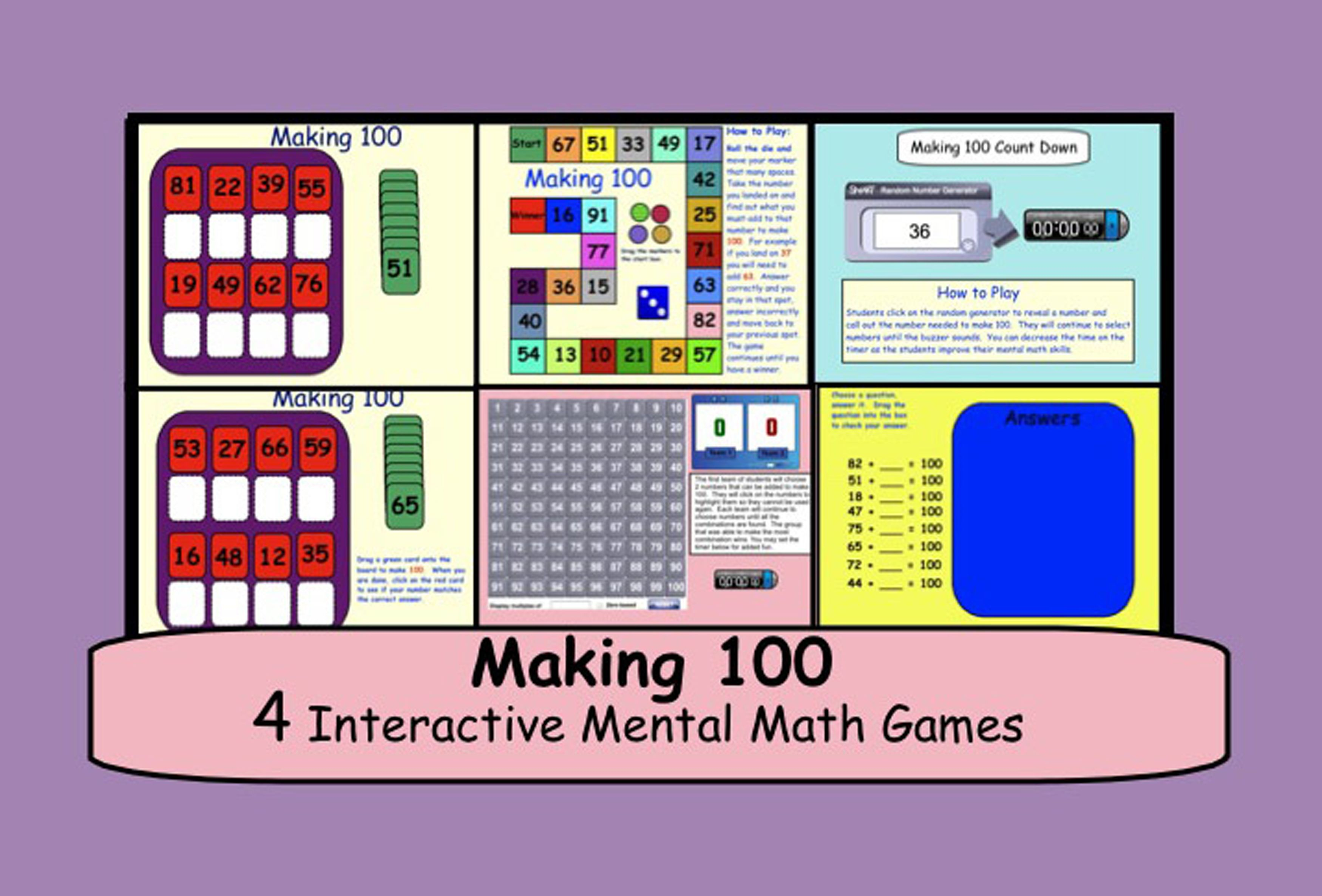 Making 100 Four Interactive Mental Math Games For