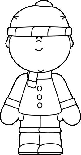 Black and White Winter Boy Clip Art - Black and White Winter Boy