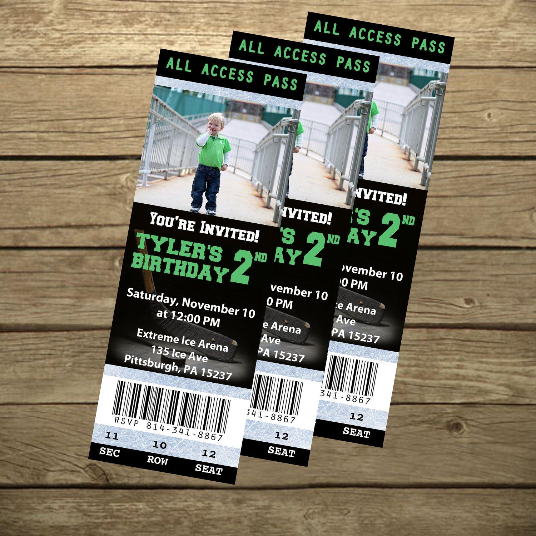 Hockey Ticket Birthday Invitation- Printable | Nolan\'s 2nd Birthday ...