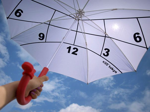 Japanese designer has designed a parasol with a built in sun dial to be read from underneath. One rotates the umbrella and the handle mounted compass to find magnetic north, correctly orienting the inside graphics. Based on the curvature of the earth,the sun lights the umbrella from the back and is allowed to mark the approximate time.