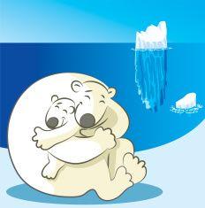 A large polar bear hugging a smaller polar bear vector art illustration