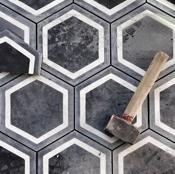 FLOOR : Black Concrete Hexagonal Tiles - bath or mudroom/entry hall & Cement Tile Obsession | Good Girl Gone Glad | Interior Design: Tiles ...