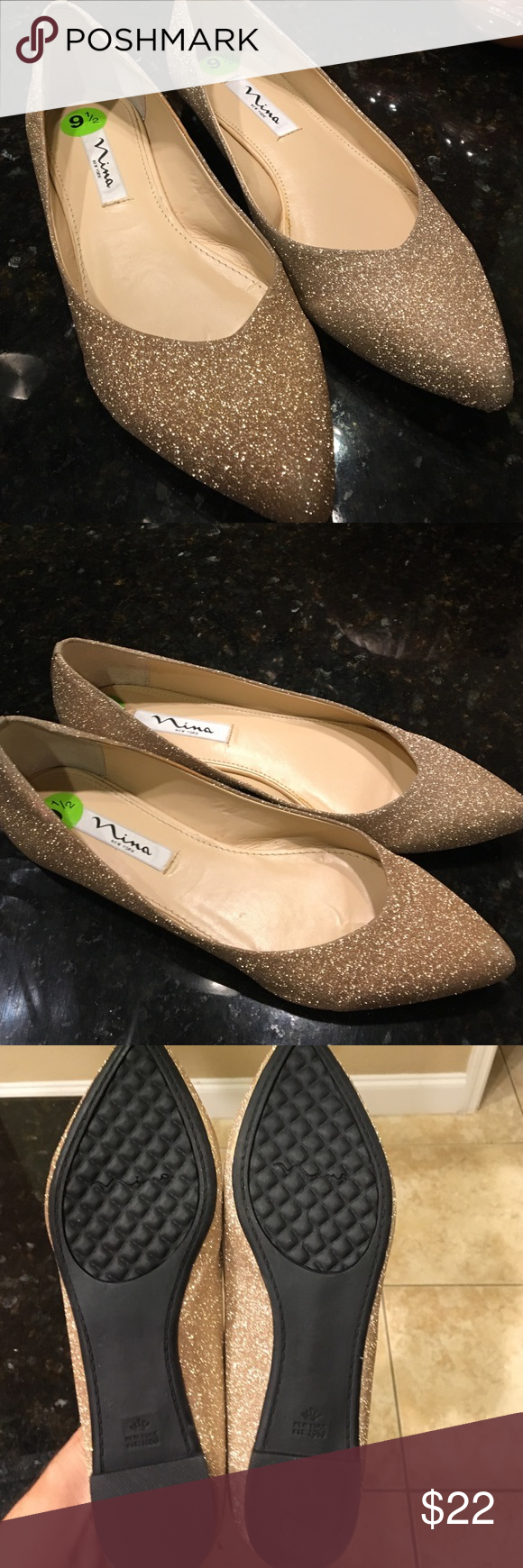 Gold Glitter Nina Flats Sz 9.5 NWOT Ugh these Nina flats are simply stunning! Perfect for day or night, they will make your Fall (and all season) outfits just POP! NWOT and against my better judgement, I bought them slightly too big 😩 . My loss is your gain! No scratches, scuffs. New condition. Don't forget I am a super fast shipper and I discount for bundles! Comes from a smoke free pet free home. Nina Shoes Flats & Loafers