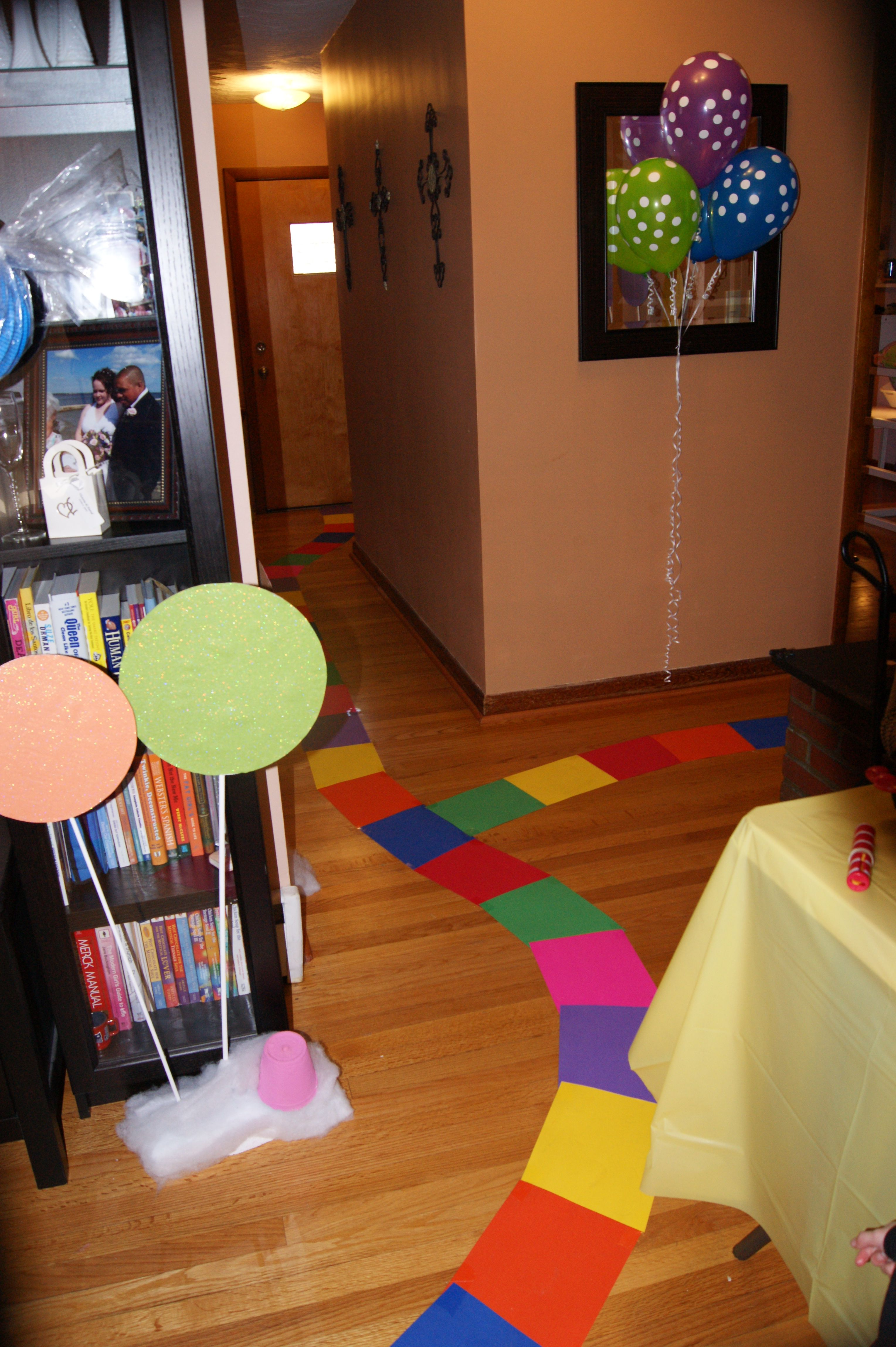 Candy land inspired path i used rainbow colored cardstock