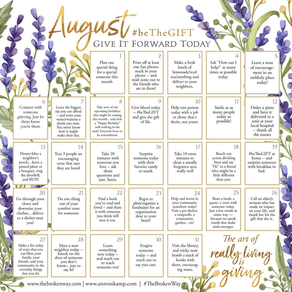 August Give it Forward, Ann Voskamp Ann voskamp, Random