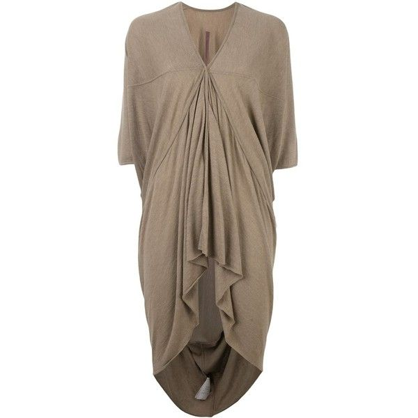 Rick Owens Lilies 'Eska' tunic ($690) ❤ liked on Polyvore featuring tops, tunics, brown tunic, rick owens lilies top, brown tops and rick owens lilies