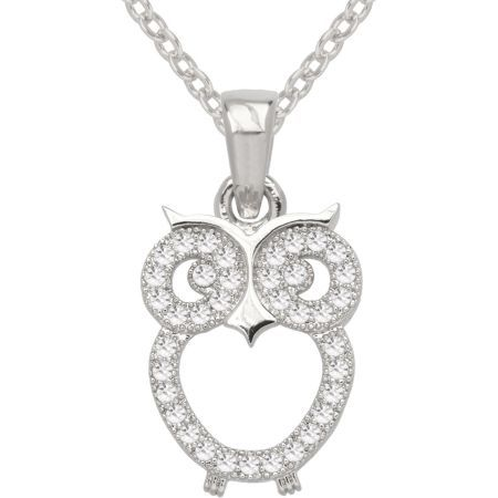 """Pure Silver Plated Cubic Zirconia Fashion Owl Pendant (722089562735) Give a hoot for this adorable owl pendant. In an open-design, our owl pendant is pure silver plated and sparkles with clear cubic zirconia. Arrives in a giftbox ready for giving. Metal: Pure silver plated Metal Color: White Stones: Cubic zirconia Closure: Spring-ring clasp Dimensions: 1/2x1"""" Length: 18"""" cable link chain Jewelry photos are enlarged to show detail."""