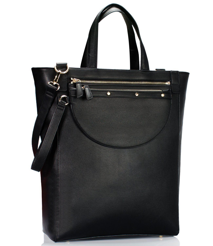 Estarer Women Laptop Tote Handbag Pu Leather Large Shoulder Bag For Work Black