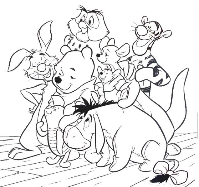 Cartoon Coloring Friends And Winnie The Pooh Pages