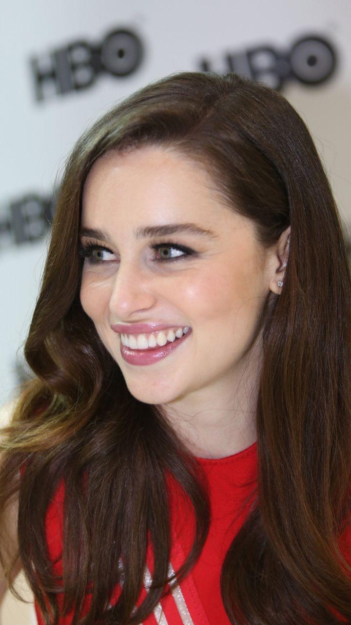 Red dress, Emilia Clarke, smile, beautiful, 720x1280 ...