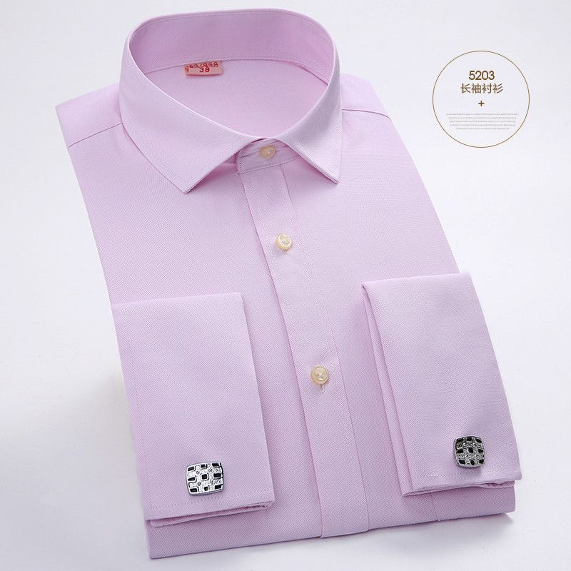 Men's Dress Shirts French Cuff Blue White Long Sleeved Business ...