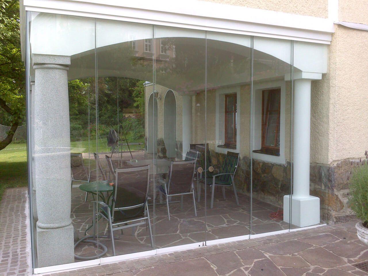 windschutz f r bestehende terrasse aus glas von schmidinger balkonverglasung. Black Bedroom Furniture Sets. Home Design Ideas