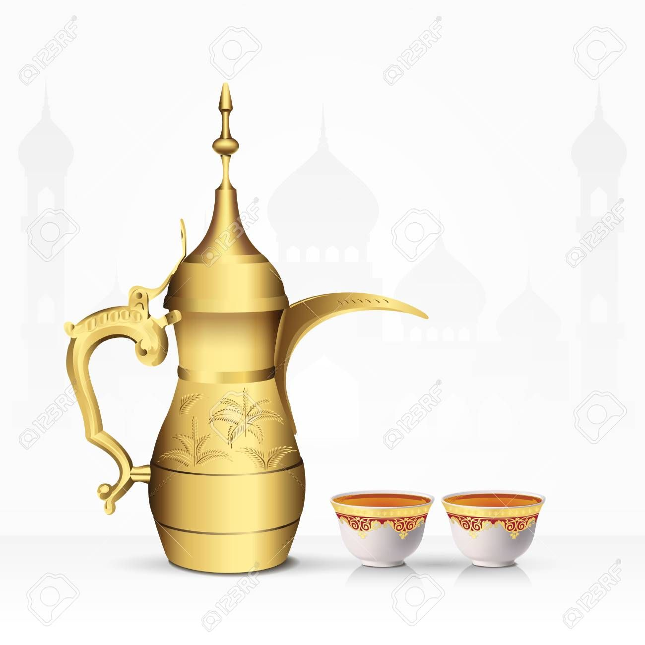 Vintage Arabic Tea Pot And Tea Cup Isolated On White Background