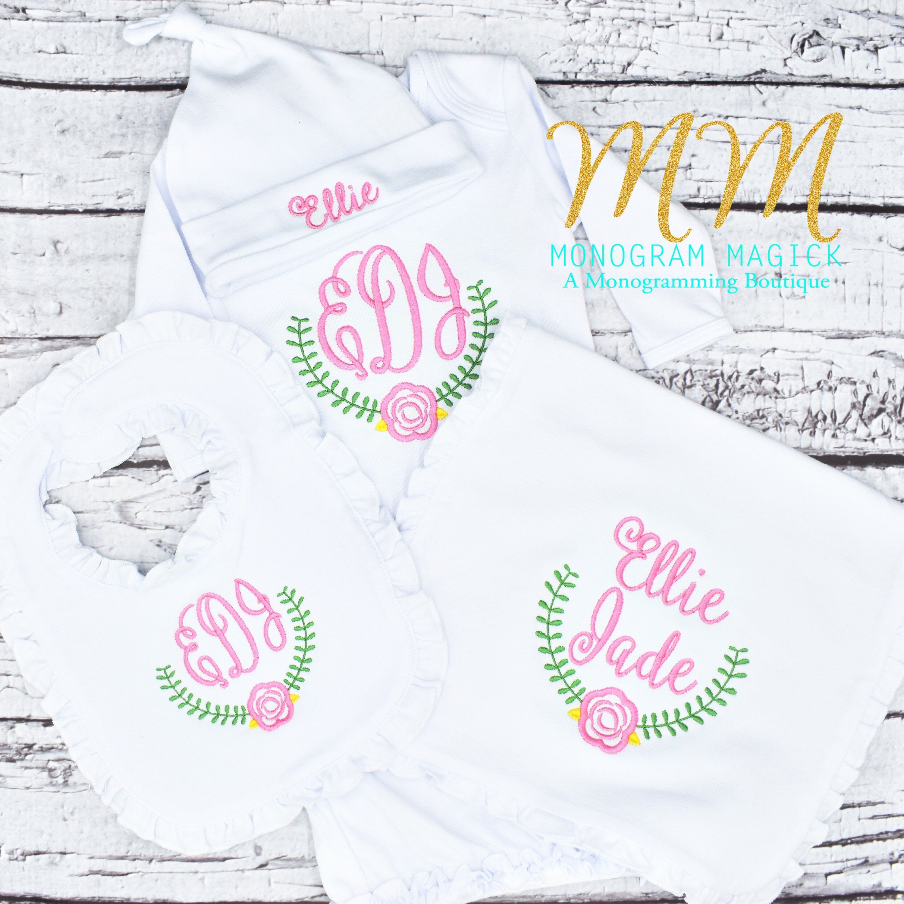 Baby Coming Home Outfit Coming Home Outfit Laurel Rose Frame Baby Gown Monogrammed Baby Gown Personalized Baby Gown