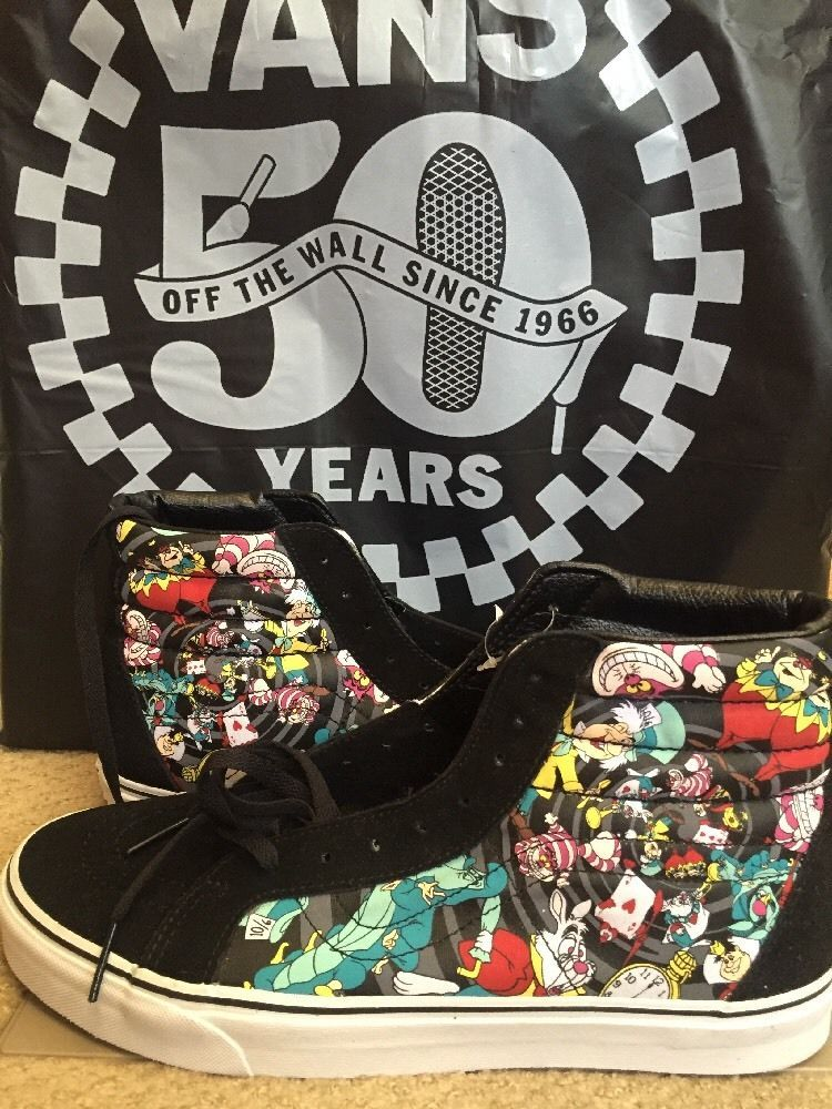 Vans Sk8 Hi Reissue Disney Alice in Wonderland Rabbit Hole Black Men s Size  12  253ba708ec685