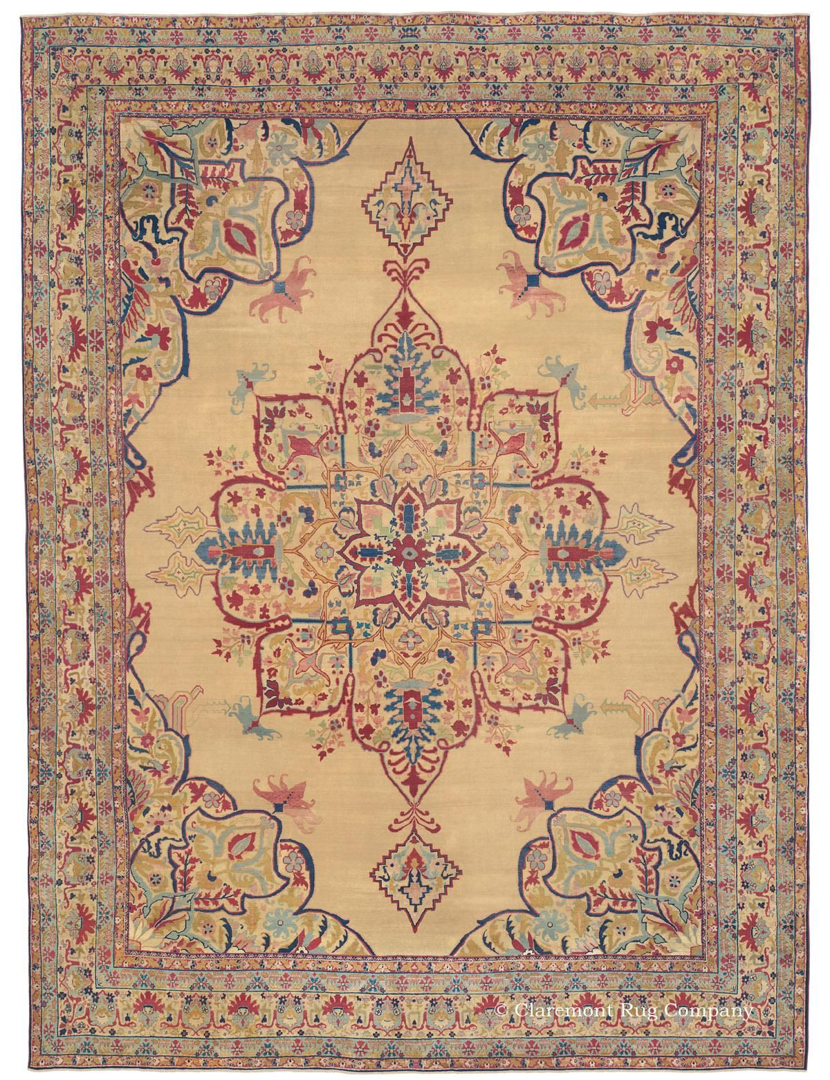 Oversize Laver Kerman Carpet With Golden Field Antique Rugs Rugs Rugs On Carpet