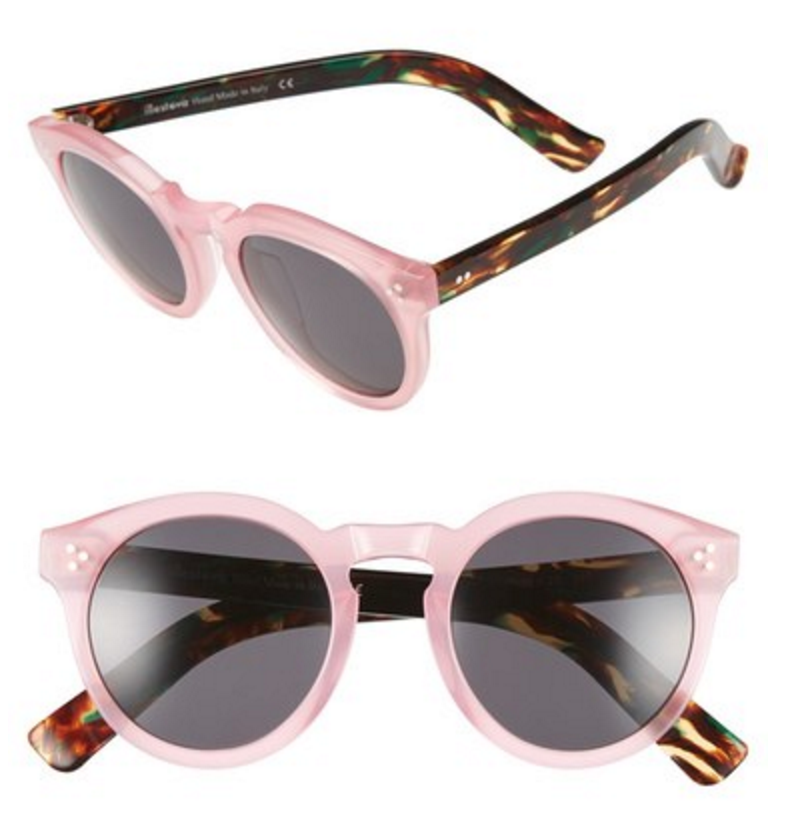 Pink rimmed, mirrored, round lens sunglasses with multi-color tortoise shell arms