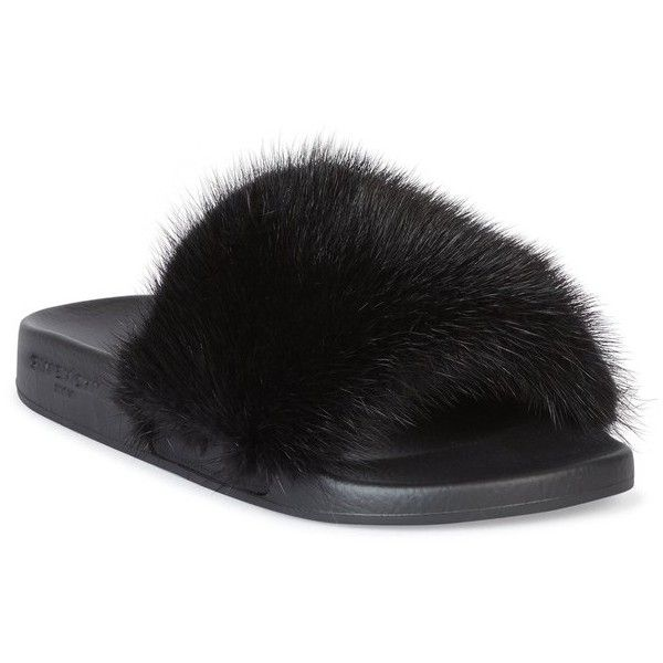 59341148c8e4 Givenchy Mink Fur   Rubber Slides ( 595) ❤ liked on Polyvore featuring shoes