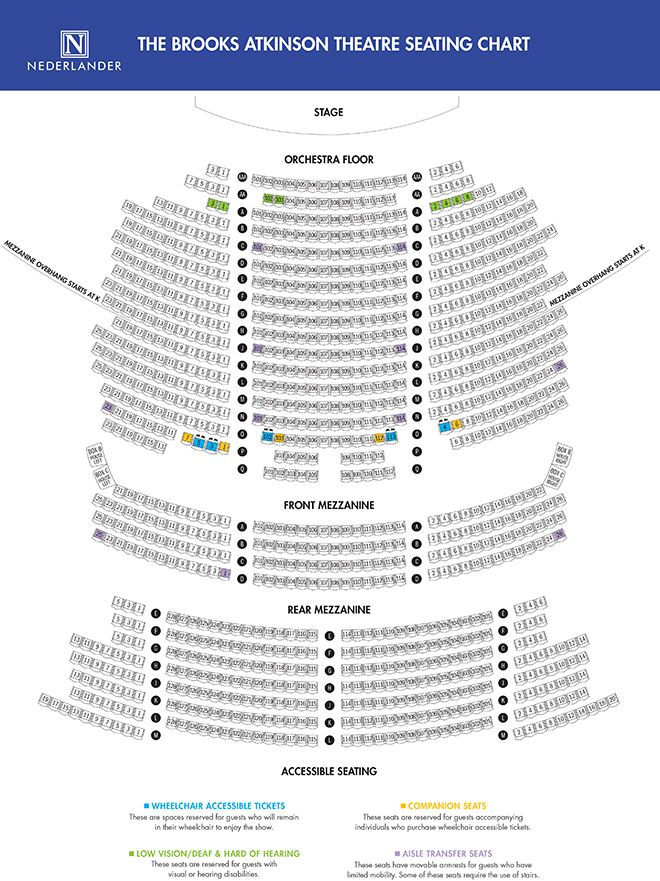 Brooks Atkinson Theatre Seating Map