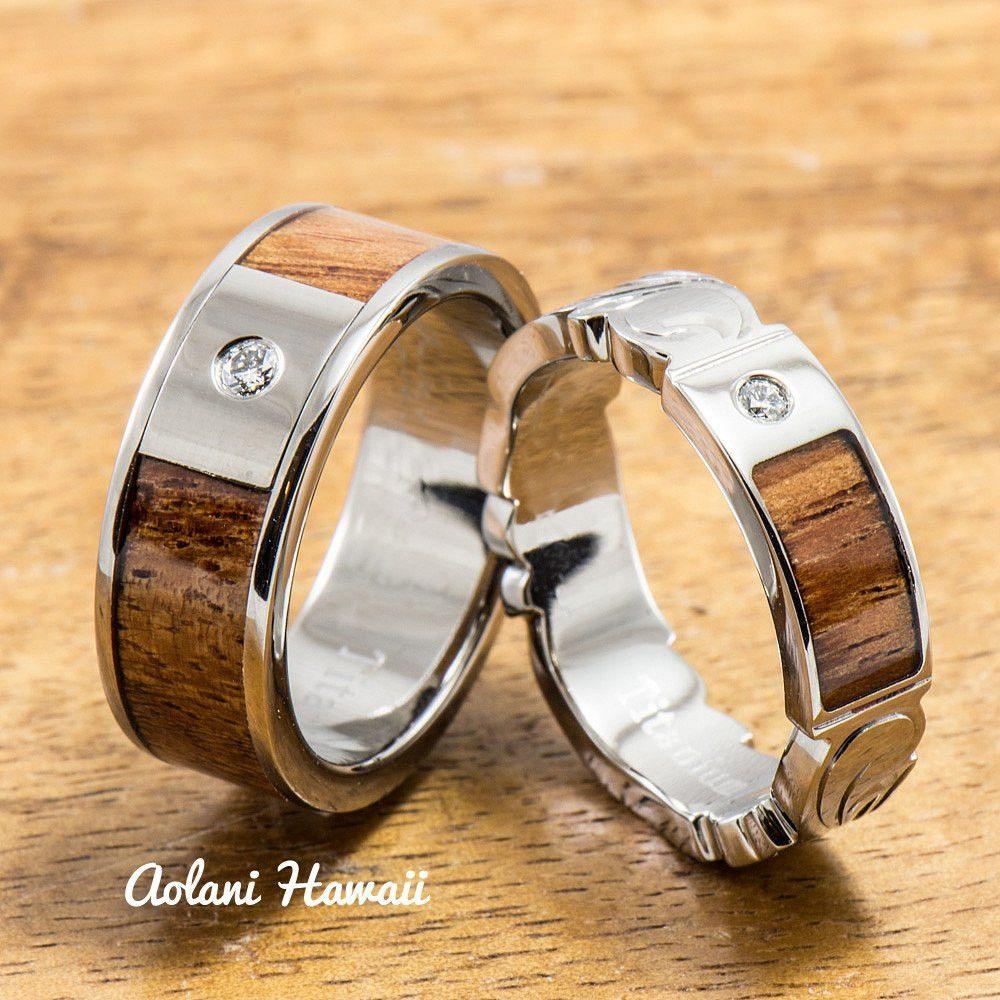 Diamond titanium wedding ring set with hawaiian koa wood inlay mm
