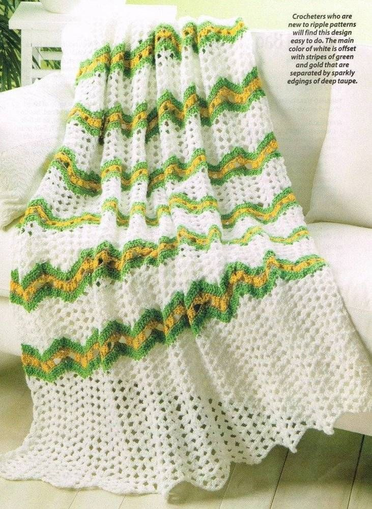 Lacy Ripple Throw Crochet Pattern Afghan Blanket Instructions ...