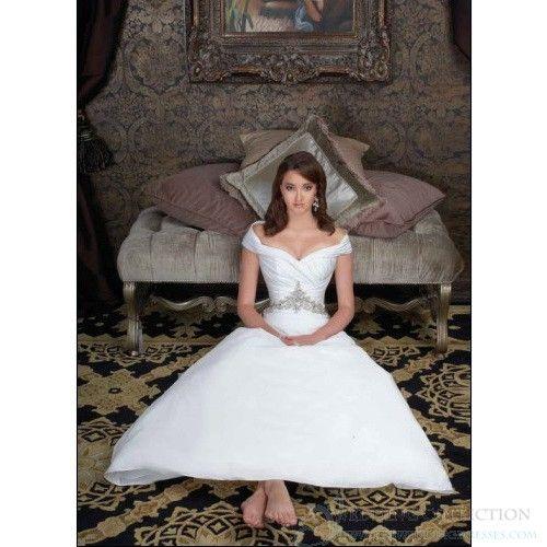 A-Line Satin Sleeveless Off-The-Shoulder Wedding Dress