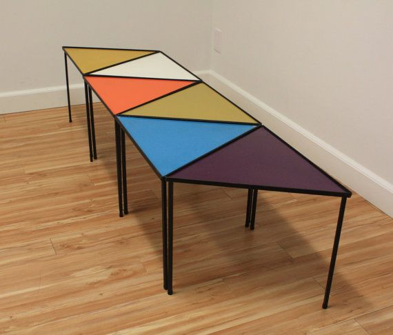 mid-century modern stacking triangle tables 6 by themodandpopshop