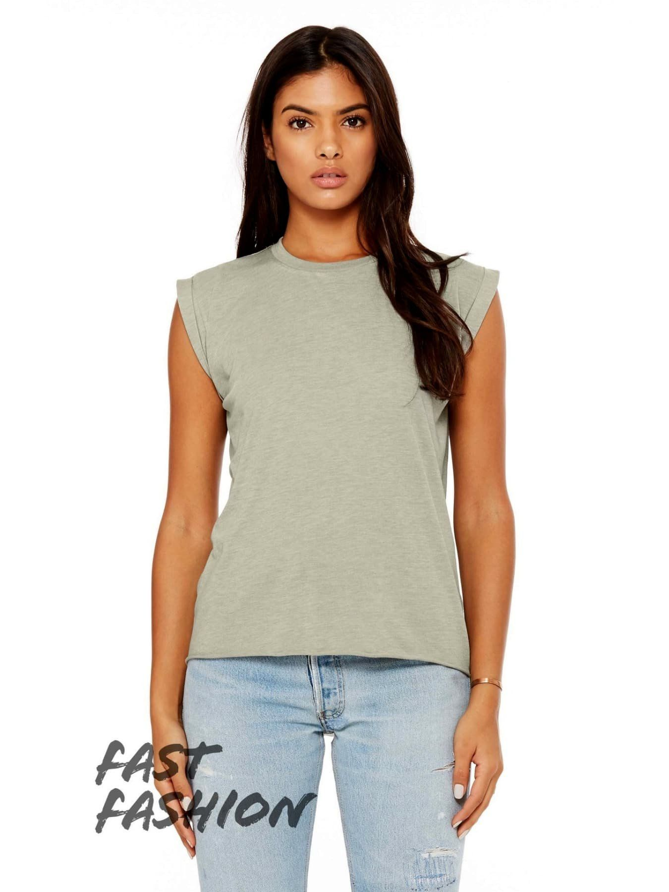 449c5308e8d3f Women s Flowy Muscle Tee with Rolled Cuff