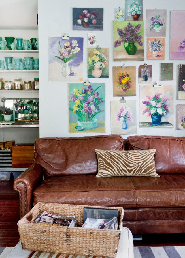 Botanic gallery wall & leather couch